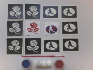 English rugby glitter tattoo set including 30 stencils + 2 glitter colours + glue     children  boys  girls 6 Nations  World Cup 2015